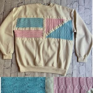 Vintage 90's Pastel Geometric Color Block Crewneck